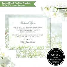 Blank Thank You Card Template Word Thank You Card Funeral Template