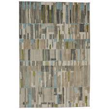 5 x 8 medium brown gray green and blue rug muse