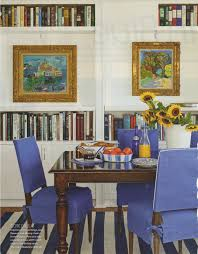 slipcovered dining chairs. Blue Slipcovered Dining Chairs, Impressionist Paintings, Books Chairs