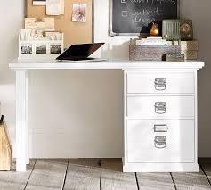 White desk for home office Hutch Emily Henderson Bedford 3drawer Small Desk Pottery Barn