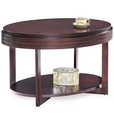 leick favorite finds oval coffee table in chocolate cherry 10109 ch