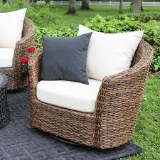 livingroom hampton bay spring haven brown all weather wicker outdoor patio swivel rocker chairs