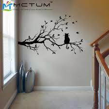 pretty design tree branch wall decor home wallpaper modern cat sticker decals birds animal poster vinyl bronze diy decorative mirror frame iron