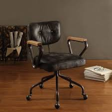 vintage office chair. Acme 92411 Hallie Vintage Black Top Grain Leather Office Chair With Casters