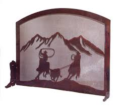 star fireplace screen western furniture team ropers fireplace screen lone star