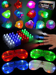 Joyin Lights Joyin 60 Pieces Led Light Up Toy Glow In The Dark Party Supplies Party Favors For Kids With 44 Led Finger Lights 12 Led Flashing Bumpy Rings And 4