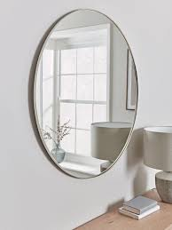 antique silver slim frame round mirror