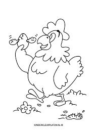 Kleurplaat Kip Met Ei Dieren