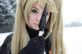 デスクトップ壁紙 女性 コスプレ モデル ブロンド 長い髪 青い目