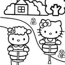 In this coloring page you will find hello kitty as an angel, a sweets seller, a ballerina, and more! Hello Kitty At The Beach Coloring Page Free Coloring Pages Online