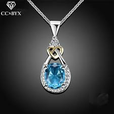925 sterling silver jewelry water drop necklace pendant blue stone cz engagement wedding necklace for party accessories ccn101 livekarts