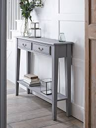 corner tables for hallway. Fantastic Corner Tables For Hallway With A Warm Grey Painted Finish And Two Slender Drawers D