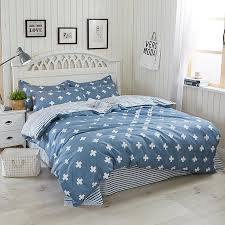 brief style blue color duvet cover set twin queen size bedding sets cross and stripes pattern quilt cover bedsheet pillowcase baseball bedding fl duvet