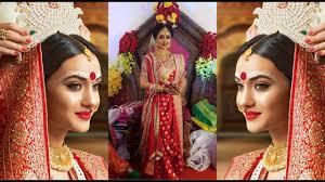 bengali bridal makeup hairstyle saree and jewellery
