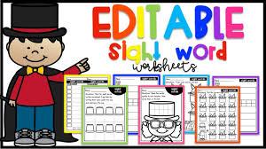 Editable Sight Word Worksheets · Kayse Morris