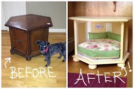 image of dog bed nightstand before and after