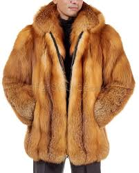 mid length red fox fur coat for men