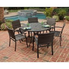 7 piece slate tile top round patio dining