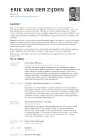 Innovation Manager Resume Samples Visualcv Resume Samples Database