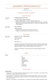Undergraduate Researcher Resume Samples Visualcv Resume Samples