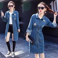 Buy <b>New Elegant</b> Long Denim Jacket Coat Female <b>Spring Autumn</b> ...