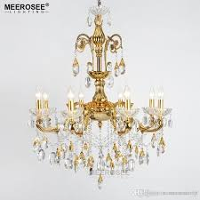 modern crystal chandelier large elegant golden color luminaria chandeliers light fixture hotel restaurant foyer 6 arms 8 arms chandelier crystals chandelier
