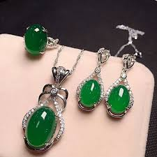 <b>Yu Xin Yuan Fine</b> Jewelry 925 Silver Inlaid With Natural Green ...