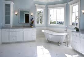 Light Blue And White Stripes Fabric Curtain White Bathtub Glass Sink