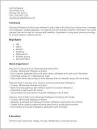 Resume Templates: Business Intelligence Analyst
