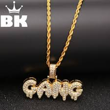 the bling king custom bubble letters cz pendant necklace hip hop full iced out cubic zirconia