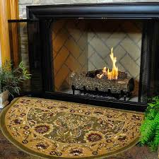46 half round green and taupe kashan hearth rug