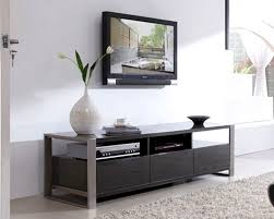 Furniture Accessories:Modern Wall Mounted Wood Media Console Table Black  Glass Top Contemporary Media Console