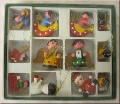 Christbaumschmuck Anhänger Holz 12 Stück Handbemalt Weihnachtsanhänger