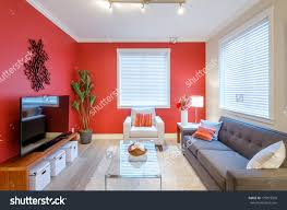 Living Room With Red Modern Red Living Room Interior Design Stock Photo 179973509