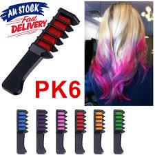 6pcs Soft Dye Comb Set Temporary Pastels Salon Gift Party Diy Hair Colour Chalk