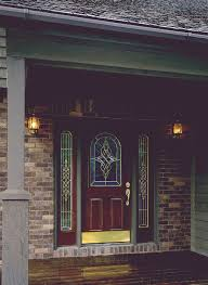 steel front entry door painted with decorative glass