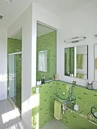 bathroom with subway tiles shower large light green tile
