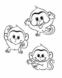 Small Picture three funny monkey coloring page Download Print Online