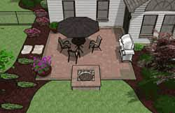 Plain Square Patio Designs Plan With Builtin Fire Pit Landscaping On Modern Design