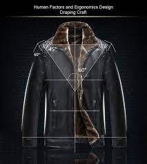 mens leather jacket coats warm winter long faux fur lined moto chaqueta men thick wool blends