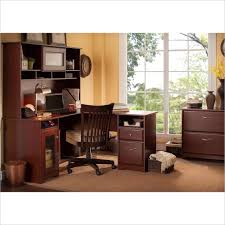 bush cabot 60 l shaped computer desk with hutch and file cabinet in harvest industries