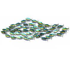 large school of fish metal wall art garden sculpture