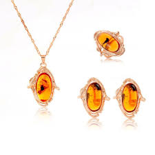 trendy rose gold plated women amber jewelry set pendant earrings necklace stud ring fashion party style