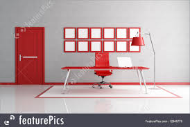 modern interior office stock. Interior Architecture: Red And White Modern Office Space - Rendering Stock