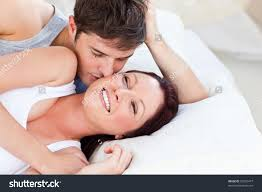 Lovely Couple In Bed Lying In Bedroom Caring Caucasian Couple Lying On Bed Stock Photo 62503477