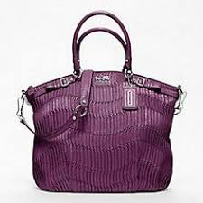 Coach Madison Gathered Leather Lindsey Satchel Silver   Magenta New Arrival  Bag