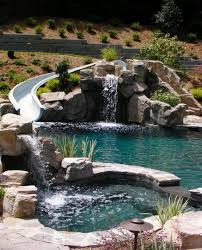 inground pools with waterfalls and hot tubs. Exact Pool Design With Hot Tub, Slide,gratto, Waterfalls, ExcMust Have This Same Natural Stone And Water Look Inground Pools Waterfalls Tubs H