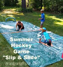 i made a summer hockey game slip and slide version for the grandkids it was one of the fun events for our oma and opa c grandma grandpa c