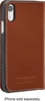 platinum leather folio case for apple iphone xr papaya angle zoom