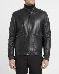 high grade armani collezioni black leather biker collar press studs and zip pockets jacket mens black armani collezioni outerwear armani collezioni